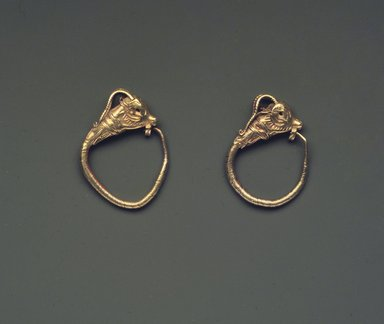Greek. <em>Pair of Gazelle-Head Earrings</em>, 330 B.C.E. or later. Gold, Length: 1 in. (2.6 cm). Brooklyn Museum, Ella C. Woodward Memorial Fund, 05.449a-b. Creative Commons-BY (Photo: Brooklyn Museum, 05.449a-b.jpg)