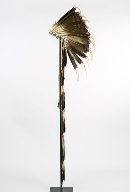 Sioux. <em>Headdress or Feathered Bonnet</em>, late 19th-early 20th century. Feathers, beads, pigment, hide,dyed horsehair, 68 1/2 x 8 7/16in. (174 x 21.5cm). Brooklyn Museum, Brooklyn Museum Collection, 05.553. Creative Commons-BY (Photo: Brooklyn Museum, 05.553_profile_PS9.jpg)