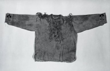 Cree. <em>Child's Blouse</em>. Hide, silk floss, 16 3/4 x 34 15/16 in.  (42.5 x 88.8 cm). Brooklyn Museum, Brooklyn Museum Collection, 05.570. Creative Commons-BY (Photo: Brooklyn Museum, 05.570_bw.jpg)