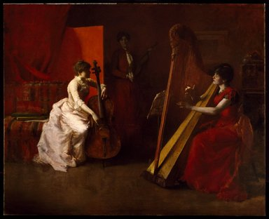 Herbert Denman (American, 1855-1903). <em>The Trio--Fantasie</em>, 1886. Oil on canvas, 83 x 96 1/2in. (210.8 x 245.1cm). Brooklyn Museum, Gift of Charles H. Genung, Emil Carlson, Henry Howard, and William L. Carrigan, in memory of the artist, 05.587 (Photo: Brooklyn Museum, 05.587_SL3.jpg)