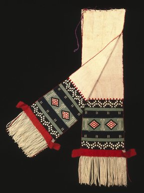 Hopi-Tewa Pueblo. <em>Dance Sash with Possible Representation of Broadface Kachina Mask</em>, late 19th century. Cotton, wool yarn, 86 x 16 in. (218.4 x 40.6 cm). Brooklyn Museum, Museum Expedition 1905, Museum Collection Fund, 05.588.7167. Creative Commons-BY (Photo: Brooklyn Museum, 05.588.7167_SL1.jpg)
