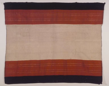 Hopi Pueblo. <em>Striped Cape (Aduu) or Blanket</em>, 19th century. Commercial cotton twine, handspun cotton wool, wool, 38 9/16 x 45 7/8 in. (97.9 x 116.5 cm). Brooklyn Museum, Museum Expedition 1905, Museum Collection Fund, 05.588.7170. Creative Commons-BY (Photo: Brooklyn Museum, 05.588.7170.jpg)