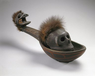 Heiltsuk (Bella Bella). <em>Ladle with Skull</em>, 19th century. Cedar wood, bear fur, cord, pigment, 29 x 8 3/4 x 9 5/16 in. (73.7 x 22.2 x 23.6 cm). Brooklyn Museum, Museum Expedition 1905, Museum Collection Fund, 05.588.7297a-b. Creative Commons-BY (Photo: Brooklyn Museum, 05.588.7297_SL1.jpg)
