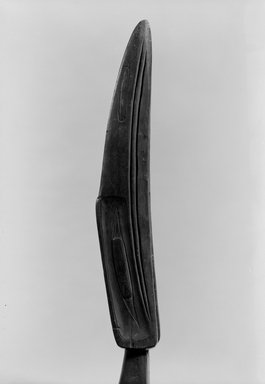 Haida. <em>Carved Shaman's Staff Representing Raven (Taske)</em>, 1868-1900. Wood, pigment, Length of staff: 57 1/4 in. (145.4 cm). Brooklyn Museum, Museum Expedition 1905, Museum Collection Fund, 05.588.7308. Creative Commons-BY (Photo: Brooklyn Museum, 05.588.7308_acetate_bw.jpg)