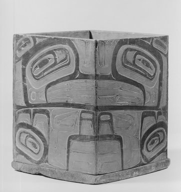 Haida. <em>Household Box Representing Killer Whale (Taod)</em>, late 19th century. Wood, pigment, 11 5/8 x 9 13/16 in.  (29.5 x 25.0 cm). Brooklyn Museum, Museum Expedition 1905, Museum Collection Fund, 05.588.7311. Creative Commons-BY (Photo: Brooklyn Museum, 05.588.7311_acetate_bw.jpg)