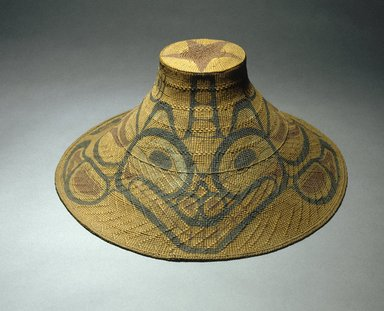 Tom Price (Haida, 1857-1927). <em>Hat with Tcamaos design</em>, late 19th century. Spruce root, pigment, 16 x 16 x 44 in. (40.6 x 40.6 x 111.8 cm). Brooklyn Museum, Museum Expedition 1905, Museum Collection Fund, 05.588.7322. Creative Commons-BY (Photo: Brooklyn Museum, 05.588.7322_SL1.jpg)