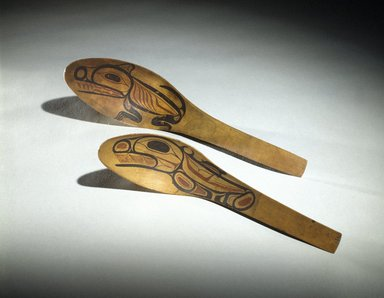 Tom Price (Haida, 1857-1927). <em>Feast Spoon</em>, late 19th century. Wood, pigment, 10 1/2 x 2 1/2 x 4 in. (26.7 x 6.4 x 10.2 cm). Brooklyn Museum, Museum Expedition 1905, Museum Collection Fund, 05.588.7331. Creative Commons-BY (Photo: Brooklyn Museum, 05.588.7331_05.588.7332_SL1.jpg)
