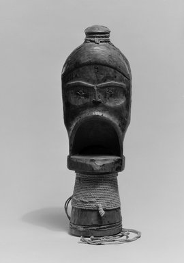 Gwa'sala Kwakwaka'wakw. <em>Hamatsa Whistle</em>, 19th century. Cedar wood, cotton cord, resin, pigment, 8 11/16 x 2 3/4 in. (22.1 x 7 cm). Brooklyn Museum, Museum Expedition 1905, Museum Collection Fund, 05.588.7351. Creative Commons-BY (Photo: Brooklyn Museum, 05.588.7351_acetate_bw.jpg)