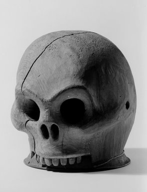 Tsimshian. <em>Wooden Skull Headdress</em>, late 19th century. Wood, metal, 7 x 6 x 7 in. (17.8 x 15.2 x 17.8 cm). Brooklyn Museum, Museum Expedition 1905, Museum Collection Fund, 05.588.7366. Creative Commons-BY (Photo: Brooklyn Museum, 05.588.7366_acetate_bw.jpg)