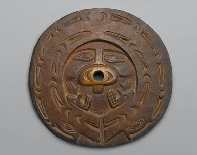 Chemainus, Coast Salish. <em>Spindle Whorl (Sulsultin)</em>, 19th century. Hardwood, pigment traces, 8 3/4 x 8 3/4 x 3/8 in. (22.2 x 22.2 x 1 cm). Brooklyn Museum, Museum Expedition 1905, Museum Collection Fund, 05.588.7382. Creative Commons-BY (Photo: Brooklyn Museum, 05.588.7382_PS1.jpg)