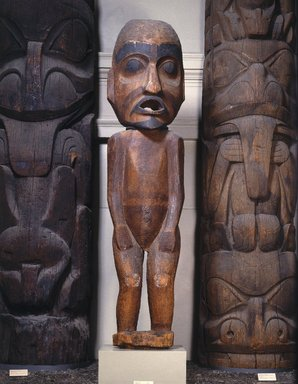 Gwa'sala Kwakwaka'wakw. <em>Speaker Figure</em>, 19th century. Cedar wood, pigment, 116 1/4 x 27 x 13 in. (295.3 x 68.6 x 33 cm). Brooklyn Museum, Museum Expedition 1905, Museum Collection Fund, 05.588.7418. Creative Commons-BY (Photo: , 05.588.7418_11.703a-b_SL1.jpg)