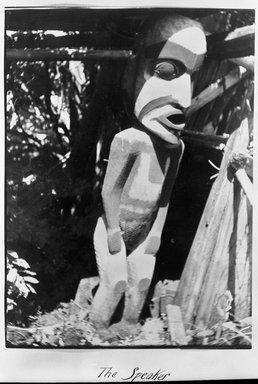 Gwa'sala Kwakwaka'wakw. <em>Speaker Figure</em>, 19th century. Cedar wood, pigment, 116 1/4 x 27 x 13 in. (295.3 x 68.6 x 33 cm). Brooklyn Museum, Museum Expedition 1905, Museum Collection Fund, 05.588.7418. Creative Commons-BY (Photo: Brooklyn Museum, 05.588.7418_acetate_bw.jpg)