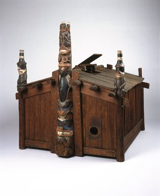 George Dickson (Haida). <em>Model of House of Contentment</em>, late 19th century. Cedar wood, pigment, 36 5/8 x 34 5/8 x 35 13/16 in. (93 x 88 x 91 cm). Brooklyn Museum, By exchange, 05.589.7791. Creative Commons-BY (Photo: Brooklyn Museum, 05.589.7791_SL1.jpg)