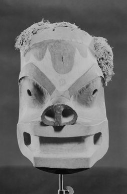 Northwest Coast. <em>Mask</em>, 1868-1900. Wood, pigment, fiber, 14 9/16 x 12 3/16 x 14 3/4 in.  (37 x 31 x 37.5 cm). Brooklyn Museum, By exchange, 05.589.7796. Creative Commons-BY (Photo: Brooklyn Museum, 05.589.7796_acetate_bw.jpg)