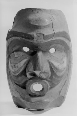 Nuu-chah-nulth (Nootka). <em>Face Mask</em>, 19th century. Pigment, wood, metal nails, 10 7/16 in. (26.5 cm). Brooklyn Museum, By exchange, 05.589.7797. Creative Commons-BY (Photo: Brooklyn Museum, 05.589.7797_front_acetate_bw.jpg)