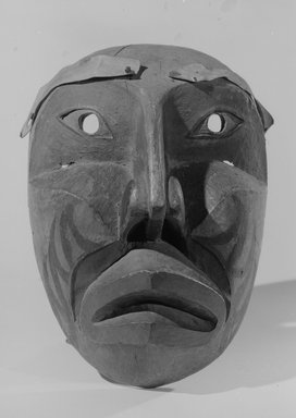 Eskimo. <em>Mask</em>. Wood, pigment, fiber, 4 15/16 x 6 5/16 x 8 7/8 in.  (12.5 x 16 x 22.5 cm). Brooklyn Museum, By exchange, 05.589.7805. Creative Commons-BY (Photo: Brooklyn Museum, 05.589.7805_acetate_bw.jpg)