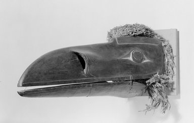 Possibly Kwakwaka'wakw. <em>Mask</em>. Wood, pigment, fiber, 4 15/16 x 7 1/2 x 10 1/16 in.  (12.5 x 19 x 25.5 cm). Brooklyn Museum, By exchange, 05.589.7806. Creative Commons-BY (Photo: Brooklyn Museum, 05.589.7806_acetate_bw.jpg)