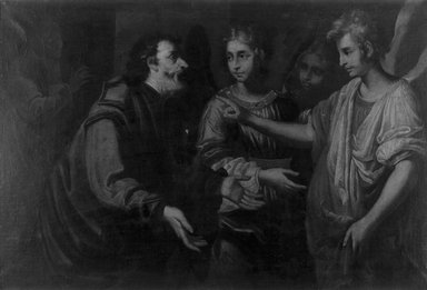 Italian (probably Neapolitan School). <em>Abraham and the Angels</em>, 17th century. Oil on canvas, 27 15/16 x 41 1/4 in. (71 x 104.8 cm). Brooklyn Museum, Gift of Francis Gottsberger in memory of his wife, Eliza, 06.22 (Photo: Brooklyn Museum, 06.22_cropped_bw.jpg)