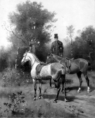 Nicholas Winfield Scott Leighton (American, 1847-1898). <em>Horses and Mounted Groom</em>, ca. 1890. Oil on canvas, 12 3/16 x 9 15/16 in. (30.9 x 25.3 cm). Brooklyn Museum, Bequest of Caroline H. Polhemus, 06.26 (Photo: Brooklyn Museum, 06.26_bw.jpg)