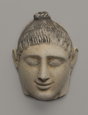 Graeco-Egyptian. <em>Mask of  a Lady</em>, late 1st century C.E. Plaster, pigment, 6 1/8 x 3 13/16 x 7 1/2 in. (15.5 x 9.7 x 19 cm). Brooklyn Museum, Museum Collection Fund, 06.282. Creative Commons-BY (Photo: Brooklyn Museum, 06.282_PS9.jpg)