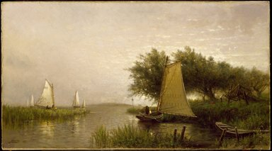 Arthur Quartley (American, 1839-1886). <em>On Synepuxent Bay, Maryland</em>, 1876. Oil on canvas, 13 1/16 x 24 1/8 in. (33.2 x 61.3 cm). Brooklyn Museum, Bequest of Caroline H. Polhemus, 06.309 (Photo: Brooklyn Museum, 06.309_SL3.jpg)