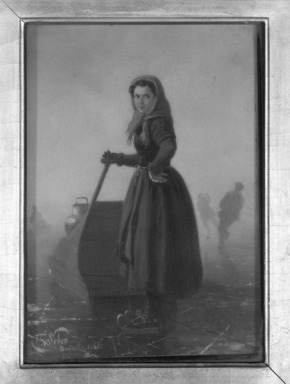 Henri van Seben (Belgian, 1825-1913). <em>Peasant Girl on Skates with Sledge</em>, 1865. Oil on panel, 8 9/16 x 6 1/16 in.  (21.7 x 15.4 cm). Brooklyn Museum, Bequest of Caroline H. Polhemus, 06.319 (Photo: Brooklyn Museum, 06.319_framed_bw.jpg)