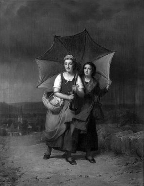 François Verheyden (Belgian, 1806-1889). <em>School Girls Caught in a Storm (Le Retour de l'école)</em>, 1869. Oil on canvas, 27 5/8 x 21 7/8 in.  (70.2 x 55.6 cm). Brooklyn Museum, Bequest of Caroline H. Polhemus, 06.322 (Photo: Brooklyn Museum, 06.322_cropped_bw.jpg)