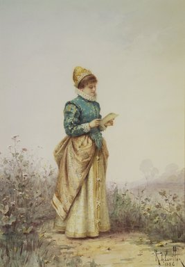 Louis-Robert de Cuvillon (French, 1848-1931). <em>Renaissance Woman Reading a Letter</em>, 1886. Watercolor on illustration board, Image: 10 1/16 x 7 11/16 in. (25.6 x 19.5 cm). Brooklyn Museum, Bequest of Caroline H. Polhemus, 06.325 (Photo: Brooklyn Museum, 06.325.jpg)