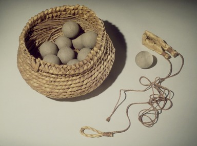 Susana Graves (Pomo). <em>Basket for Clay Balls for killing Mud Hens (8581) (bi-chul ka-tu-li)</em>, ca. 1906. Tule, reed, 8 1/2 x 5 in. (21.6 x 12.7 cm). Brooklyn Museum, Museum Expedition 1908, Museum Collection Fund, 08.491.8612. Creative Commons-BY (Photo: , 06.331.8213_08.491.8612_08.491.8581.jpg)