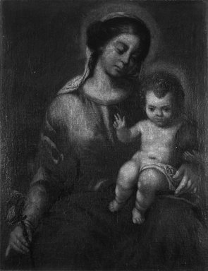 In the style of Bartolomé Estebán Murillo (possibly School of Granada) (Spanish, 1618-1682). <em>Virgin of the Rosary with the Christ Child</em>, ca. 1700. Oil on canvas, 34 1/2 x 29 9/16 in. (87.6 x 75.1 cm). Brooklyn Museum, Gift of Francis Gottsberger in memory of his wife, Eliza, 06.335.1 (Photo: Brooklyn Museum, 06.335.1_cropped_bw.jpg)