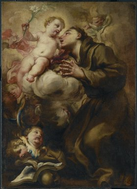 Domenico Piola (Italian, Genoese, 1627-1703). <em>Appearance of the Christ Child to Saint Anthony of Padua</em>, last quarter of the 17th century. Oil on canvas, 35 1/2 x 25 3/4 in.  (90.2 x 65.4 cm). Brooklyn Museum, Gift of Francis Gottsberger in memory of his wife, Eliza, 06.335.2 (Photo: Brooklyn Museum, 06.335.2_PS6.jpg)