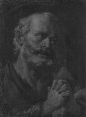 Spanish (probably School of Seville). <em>Head of Penitent Saint Peter</em>, 1660-1700. Oil on canvas, 23 x 17 1/16 in.  (58.4 x 43.3 cm). Brooklyn Museum, Gift of Francis Gottsberger in memory of his wife, Eliza, 06.335.3 (Photo: Brooklyn Museum, 06.335.3_cropped_bw.jpg)