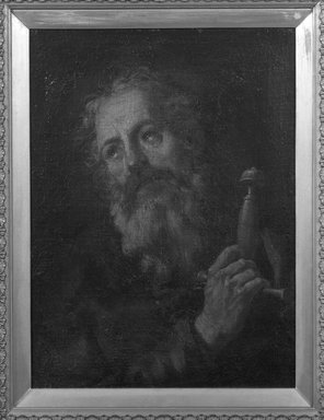 Spanish (probably School of Seville). <em>Head of Saint Paul</em>, 1660-1700. Oil on canvas, 23 1/8 x 17 1/4 in.  (58.7 x 43.8 cm). Brooklyn Museum, Gift of Francis Gottsberger in memory of his wife, Eliza, 06.335.4 (Photo: Brooklyn Museum, 06.335.4_framed_bw.jpg)
