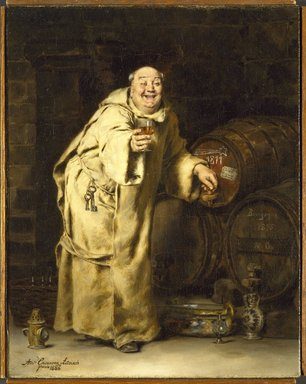 Antonio Casanova y Estorach (Spanish, 1847-1896). <em>Monk Testing Wine</em>, 1886. Oil on canvas, 16 3/16 x 12 3/4 in. (41.1 x 32.4 cm). Brooklyn Museum, Bequest of Caroline H. Polhemus, 06.336.1 (Photo: Brooklyn Museum, 06.336.1_SL3.jpg)