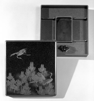 <em>Writing Case, Box and Lid</em>, 19th century. Lacquered and painted wood, 2 x 11 x 12 in. (5.1 x 27.9 x 30.5 cm). Brooklyn Museum, Gift of Robert B. Woodward, 06.337. Creative Commons-BY (Photo: Brooklyn Museum, 06.337_bw.jpg)