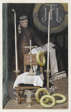 James Tissot (French, 1836-1902). <em>Portrait of the Pilgrim (Portrait du pèlerin)</em>, 1886-1896. Opaque watercolor over graphite on gray wove paper, Image: 9 1/16 x 5 5/8 in. (23 x 14.3 cm). Brooklyn Museum, Gift of Thomas E. Kirby, 06.39 (Photo: Brooklyn Museum, 06.39_PS2.jpg)
