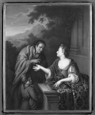 Königliche Porzellan-Manufaktur (founded 1751). <em>Fortune Telling</em>, late 19th century. Glazed ceramic tile, 12 x 9 3/4 in.  (30.5 x 24.8 cm). Brooklyn Museum, Bequest of Caroline H. Polhemus, 06.41 (Photo: Brooklyn Museum, 06.41_framed_bw.jpg)