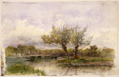 Robert Ward van Boskerck (American, 1855-1932). <em>Landscape</em>, 1881. Watercolor and graphite on paper, 11 3/16 x 17 7/8 in. (28.4 x 45.4 cm). Brooklyn Museum, Bequest of Caroline H. Polhemus, 06.42 (Photo: Brooklyn Museum, 06.42_SL3.jpg)