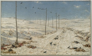 Vasily Vereshchagin (Russian, 1842-1904). <em>The Road of the War Prisoners</em>, 1878-1879. Oil on canvas, 71 1/4 x 117 11/16 x 2 1/4 in. (181 x 298.9 x 5.7 cm). Brooklyn Museum, Gift of Lilla Brown in memory of her husband, John W. Brown , 06.46 (Photo: Brooklyn Museum, 06.46_PS4.jpg)