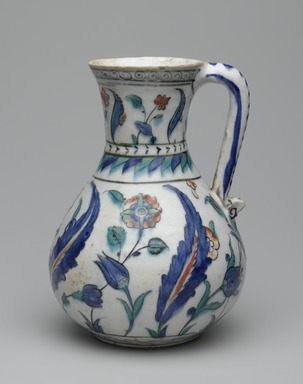 <em>Jug</em>, second half 16th century. Ceramic; fritware, painted in black, cobalt blue, green, and red under a transparent glaze, 17 7/8 x 15 1/2 in. (45.4 x 39.4 cm). Brooklyn Museum, Museum Collection Fund, 06.4. Creative Commons-BY (Photo: Brooklyn Museum, 06.4_side1_PS2.jpg)