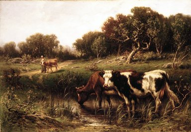 John Carleton Wiggins (American, 1848-1932). <em>Cattle in a Pool</em>, 1883. Oil on canvas, 23 x 33 1/16 in. (58.4 x 83.9 cm). Brooklyn Museum, Bequest of Caroline H. Polhemus, 06.52 (Photo: Brooklyn Museum, 06.52_transp90.jpg)