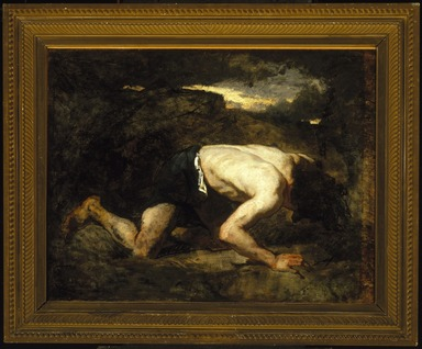 Thomas Couture (French, 1815-1879). <em>The Fugitive, Study for Timon of Athens</em>, ca. 1857. Oil on canvas, 25 7/8 x 33 3/8 in. (65.7 x 84.8 cm). Brooklyn Museum, Purchased with funds given by Robert Bonner and Robert B. Woodward and Museum Collection Fund, 06.64 (Photo: Brooklyn Museum, 06.64_SL1.jpg)