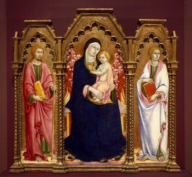 Sano di Pietro (Italian, Sienese, 1405-1481). <em>Madonna and Child with Saints James Major and John the Evangelist, altarpiece</em>, early 1460s. Tempera and gold on panel, Central panel: 56 1/2 x 25 3/4 in. (143.5 x 65.4 cm). Brooklyn Museum, Gift of A. Augustus Healy, 06.80 (Photo: Brooklyn Museum, 06.80_SL3.jpg)