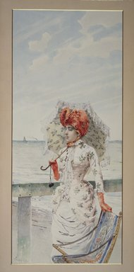 Vittorio Matteo Corcos (Italian, 1859-1933). <em>Woman at Seaside Resort</em>, n.d. Watercolor and gouache on paper, 23 15/16 x 10 5/8 in.  (60.8 x 27.0 cm). Brooklyn Museum, Bequest of William H. Herriman, 06.89 (Photo: Brooklyn Museum, 06.89.jpg)