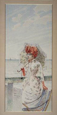 Vittorio Matteo Corcos (Italian, 1859-1933). <em>Woman at Seaside Resort</em>, n.d. Watercolor and gouache on paper, 23 15/16 x 10 5/8 in.  (60.8 x 27.0 cm). Brooklyn Museum, Bequest of William H. Herriman, 06.89 (Photo: Brooklyn Museum, 06.89.jpg)