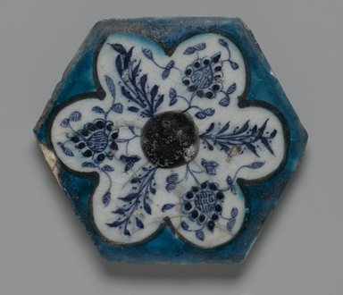 <em>Hexagonal Tile</em>, mid-15th century. Ceramic; fritware, painted in cobalt blue, turquoise and manganese purple under a transparent glaze, 6 3/4 x 13/16 x 6 3/4 in. (17.1 x 2 x 17.1 cm). Brooklyn Museum, Museum Collection Fund, 07.175. Creative Commons-BY (Photo: Brooklyn Museum, 07.175_PS2.jpg)
