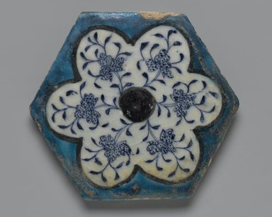 <em>Hexagonal Tile</em>, mid-15th century. Ceramic; fritware, painted in cobalt blue, turquoise, and manganese purple under a transparent glaze, 6 3/4 x 13/16 x 6 3/4 in. (17.1 x 2 x 17.1 cm). Brooklyn Museum, Museum Collection Fund, 07.176. Creative Commons-BY (Photo: Brooklyn Museum, 07.176_PS2.jpg)