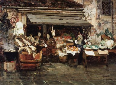 Alessandro Milesi (Italian, 1856-1945). <em>Market Scene in Venice</em>, 1894. Oil on canvas, 30 1/2 x 41 in. (77.5 x 104.1 cm). Brooklyn Museum, Museum Collection Fund, 07.268 (Photo: Brooklyn Museum, 07.268.jpg)