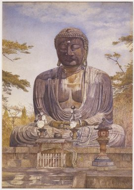 Henry  Roderick Newman (American, 1843-1917). <em>Daibutsu, Great Bronze Statue of Buddha at Kamakura, Japan</em>, 1898. Watercolor and graphite on paper, 20 x 14 in. (50.8 x 35.6 cm). Brooklyn Museum, Gift of Alfred T. White, 07.270 (Photo: Brooklyn Museum, 07.270_SL1.jpg)