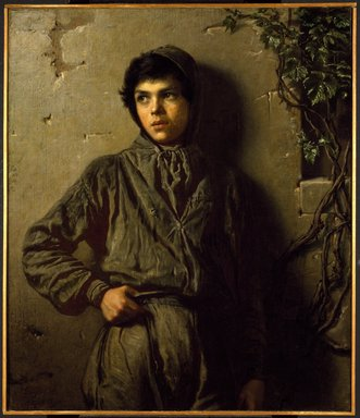 Eastman Johnson (American, 1824-1906). <em>The Savoyard Boy</em>, 1853. Oil on canvas, 37 3/16 x 32 3/16 in. (94.5 x 81.8 cm). Brooklyn Museum, Bequest of Henry P. Martin, 07.273 (Photo: Brooklyn Museum, 07.273_SL3.jpg)
